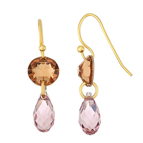 14K Gold Plated Circle and Briolette Dangle Earrings, Made with Swarovski Crystals