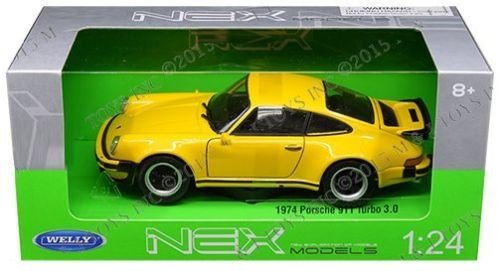 New 1:24 W/B WELLY COLLECTION - YELLOW 1974 PORSCHE 911 TURBO 3.0 Diecast Model Car By Welly