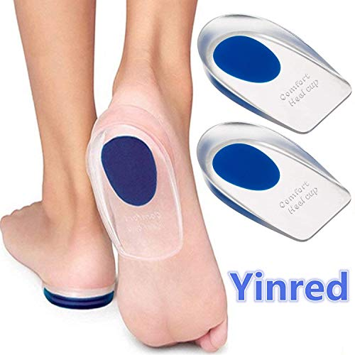 Silicone Gel Heel Cups, Shoe Inserts Silica Gel Pads Insole for Plantar Fasciitis, Bone Spurs Pain Relief, Sore Heel Pain, Achilles Pain and Foot Care (Blue, L)