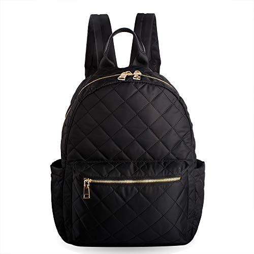 - Woman Backpack Purse Quilted Black Bag Casual Daypack Hold 14'' Laptop