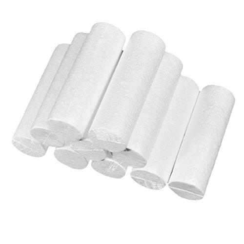 Baoblaze 10 Pieces Cylinder Shape Styrofoam Foam Material for Kids DIY Handcraft Ornaments - 14x4.5cm