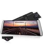 AUTO-VOX X1 DashCam Spiegel mit AHD Backup-Kamera-Kit, Streaming Media 9,88 ZollFull TouchScreen, AutoKamera 1296P FHD Frontkamera und 720P Rückfahrkamera mit Crystal Bildqualität,WDR, LDWS, GPS Modus
