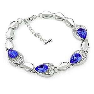 TPS Alloy Crystal Rhodium Charm Bracelet Blue