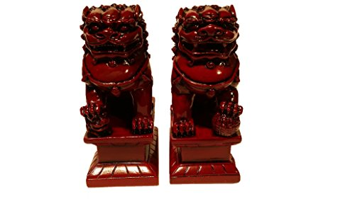 Fabulous Hong Tze Collection Chinese Feng Shui Foo Dogs statue to Ward Off Evil Energy ( red resin)