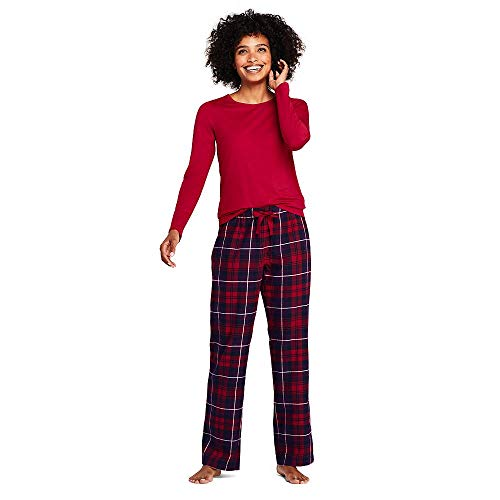 - Lands' End Women's Knit Flannel Pajama Set, M, Radiant Navy/Dark Grape Plaid