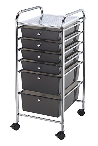 Blue Hills Studio SC6SM Storage Cart 6-Drawer (Standard and Deep) Smoke