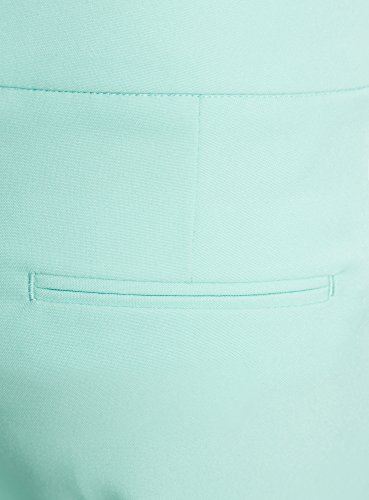 oodji Ultra Mujer Pantalones Clásicos con Pinzas Turquesa (7300N)