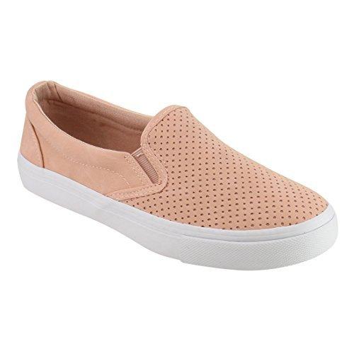 SODA IF14 Women's Perforated Slip On Elastic Panel Athletic Fashion Sneaker, Color:Pink Nubuck, Size:7