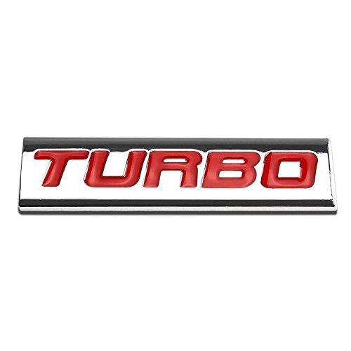 UrMarketOutlet TURBO Red/Chrome Aluminum Alloy Auto Trunk Door Fender Bumper Badge Decal Emblem Adhesive Tape Sticker ()