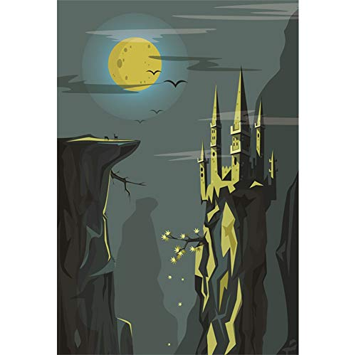 Leyiyi Gothic Architecture Backdrop 6x8ft Photography Background Nigh Moon Birds Cliff Terrorist Gothic Castle Scary Monstrous Abandon Castle Costume Ball Adults Video Props