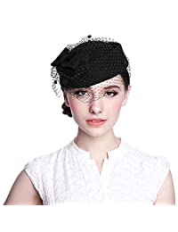 Aniwon Pillbox Hat, Wedding Hat with Veil Vintage Bow Fascinator Hats for Women