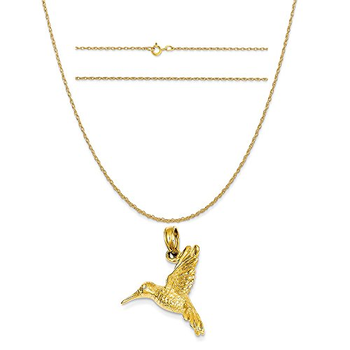 K&C 14k Yellow Gold Hummingbird Pendant on a 14K Yellow Gold Carded Rope Chain Necklace, 18
