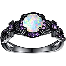 OPALTOP Black Gun Plated 6.5MM Round White Opal Created Amethyst Ring Band
