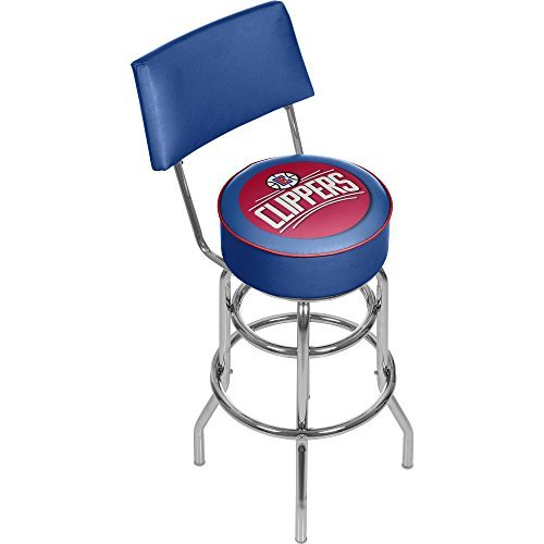 NBA Los Angeles Clippers Padded Swivel Bar Stool with Back by Trademark Gameroom by Trademark Gameroom