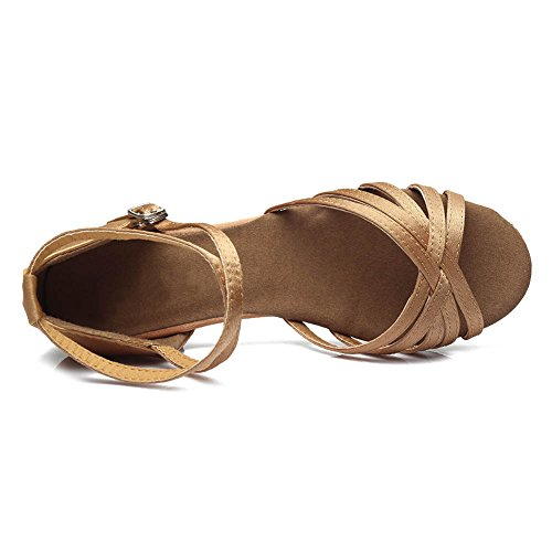 HROYL Mädchen Tanzschuhe/Latin Dance Schuhe Satin Ballsaal Modell-DS-202 Beige