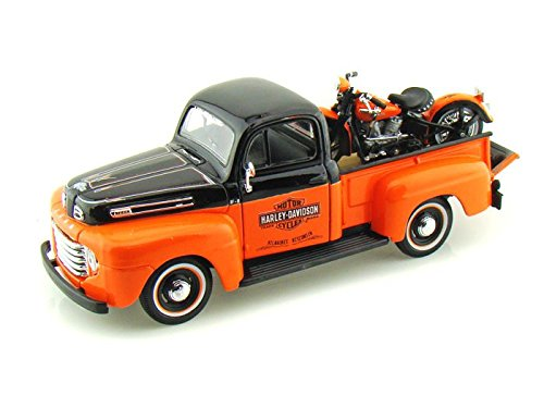 Harley Toy (1948 Ford F1 Harley Davidson Truck 1/25 & 1948 Knucklehead Motorcycle Black Over Orange)