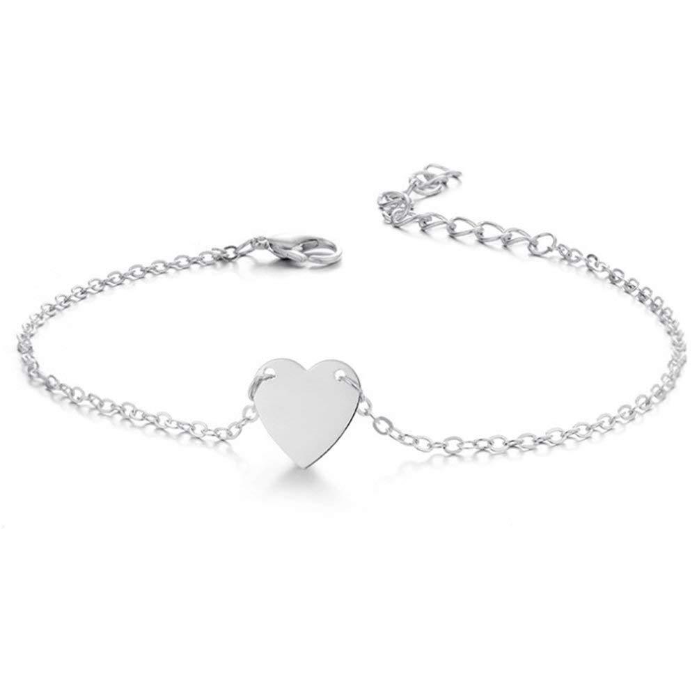 AIUIN Bracelet de Cheville Femmes Filles en Argent Style d'amour Mince chaîne Bracelet de Cheville Pieds Nus Bijoux de Plage 1pcs 21cm ZWQ2018315