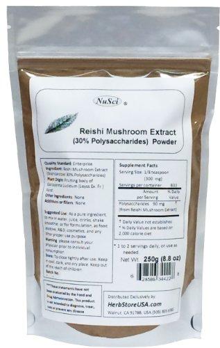 NuSci гриб рейши порошок экстракта Стандартизированный 30% Полисахариды 250 граммов (8,8 унции)