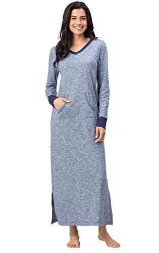 Slub Drape Jersey - Addison Meadow Long Nightgowns for Women - Jersey Cotton Nightgowns for Women, Blue, 2X, 20-22
