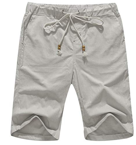 (Boisouey Men's Linen Casual Classic Fit Short Light Grey L)