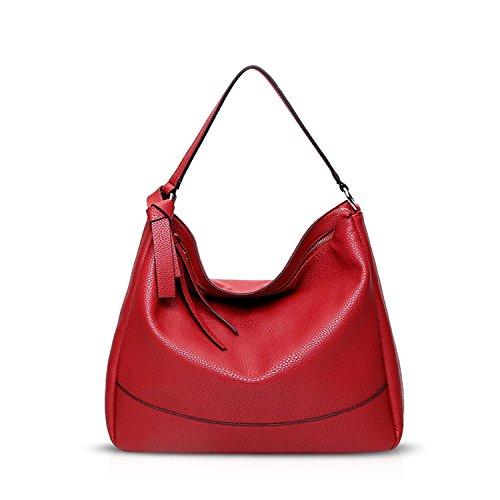 NICOLE&DORIS Elegant Stilvoll Tote Damen Handtaschen Umhängetasche Henkeltaschen Crossbody Bag Schultertaschen Groß Tasche PU Gelb Rot