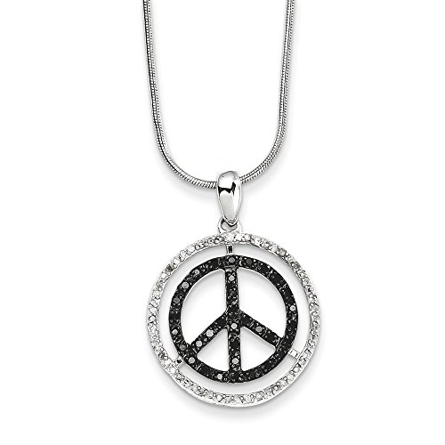 Black & White Diamond 21mm Peace Sign Necklace in Sterling Silver