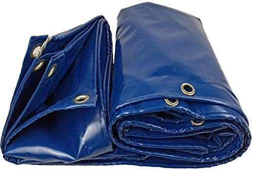 FQJYNLY ターポリンタープ日焼け止め広めのグロメット防雨ポイントトラックパティオ、PVC、16サイズ (Color : Blue, Size : 5.8X5.8M)