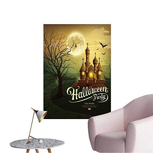 Wall Stickers for Living Room Happy Halloween Party Castles with Message,bat,Silhouette Tree,Moon Vinyl Wall Stickers Print,24