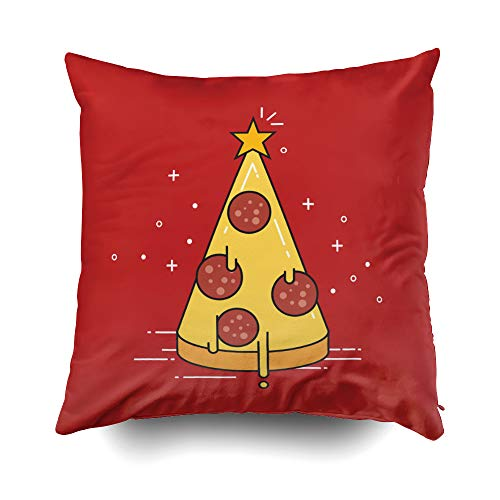 GROOTEY Kid Pillow Case Square Pillow Covers with Zip Couch Sofa Décor Pizza Christmas Tree Star Top Flat 18X18 Throw Cushion