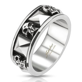 STR-0044 Stainless Steel Skull and Pyramid Combination Cast Band Ring; Comes With Free Gift Box