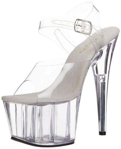 Pleaser Women's Adore-708 Ankle-Strap Sandal,Clear/Clear,9 M US