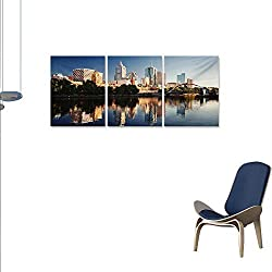 WinfreyDecor City The Picture for Home Decoration Idyllic View of Yarra River Melbourne Australia Architecture Tourism Customizable Wall Stickers 24x36x3pcs Dark Blue Ivory Dark Green