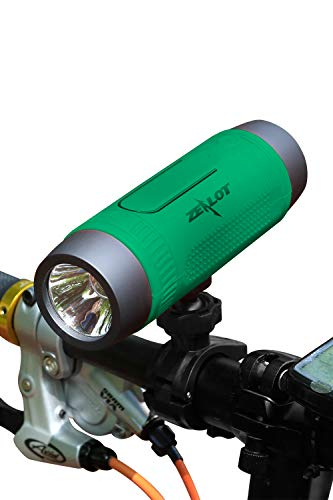 Bluetooth Bicycle Speaker Zealot S1 4000mAh Power Bank Waterproof Portable Speakers with Rechargeable Bicycle Headlight LED Flashlight Outdoor Accessories(Bike Mount, Carabiner.)(Green)