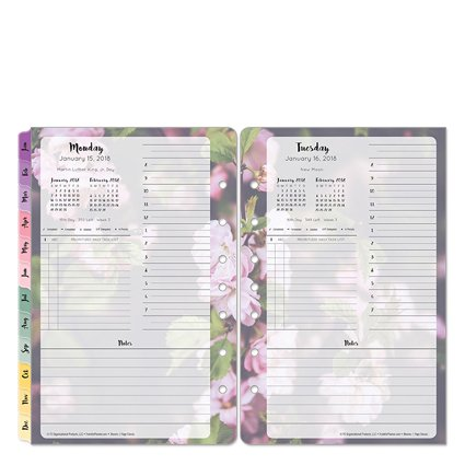 Classic Blooms One-Page-Per-Day Ring-bound Planner - Jan 2018 - Dec 2018