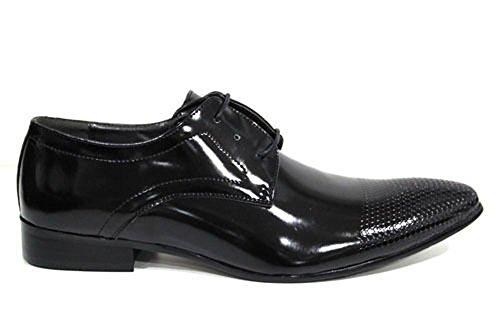 Echtleder Herren Schuhe Schwarz Lack Glänzend Schnürer Geprägt Aufdruck 7 8 9 10 11