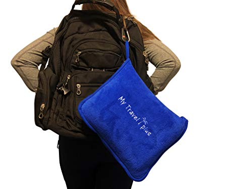 Exclusive Light Weight Airplane Travel Blanket Portable Cozy-Soft 2 in 1 Microfleece Blanket and Pillow in Compact Bag, Best Comfort and Deluxe Feel Guaranteed! (Royal Blue)