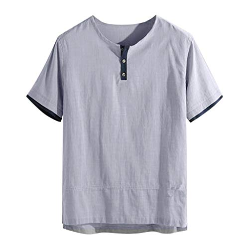 WYTong Short Sleeve Pullover Summer Fashion Summer New Men's Fashion Solid Color Cotton Short Sleeve Top(Gray,S)