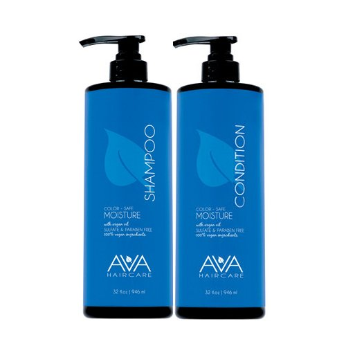 Ava Haircare - Moisture Shampoo And Conditioner - Vegan, Sulphate Free, Paraben Free, Cruelty Free (Set of 2, 33oz Each) ()