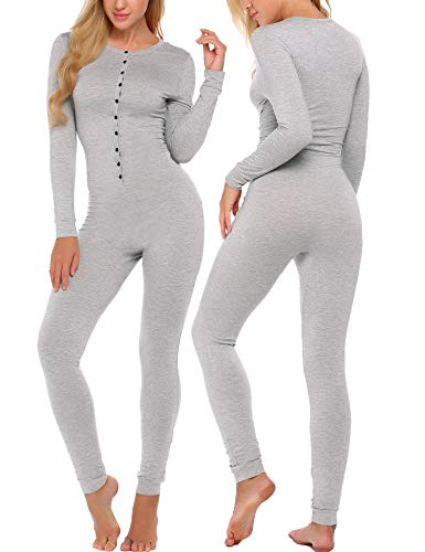 Ekouaer Bandage One Piece Pajama Romper Long Sleeve Jumpsuit Sleepwear For Women,Gray,Small