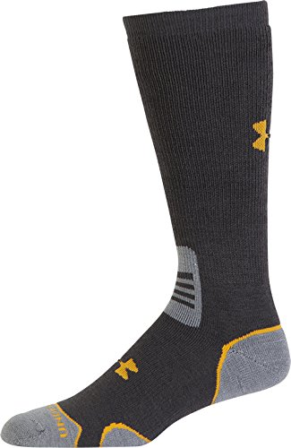 (Under Armour Men's Hitch Heavy II Crew Boot Socks, Charcoal/Cabana Orange, Medium)
