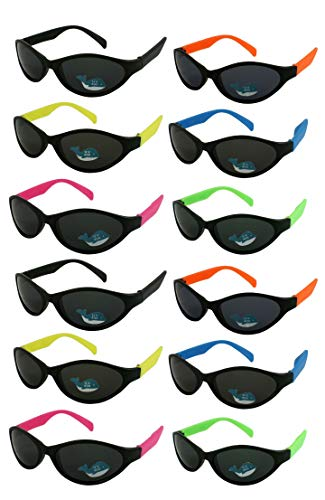 Edge I-Wear 12 Pack School Kids Neon Sunglasses for 80's Style Party Sunglasses Sport Party Favors 9446R/SET-12]()