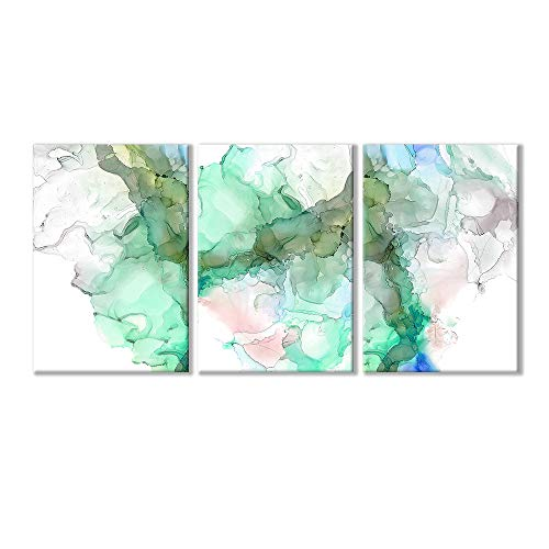 Wall26-3 Piece Canvas Wall Art-Abstract Artwork Green Ink Painting-Giclee Painting Wall Bedroom Living House Decoration Home Decor - 16