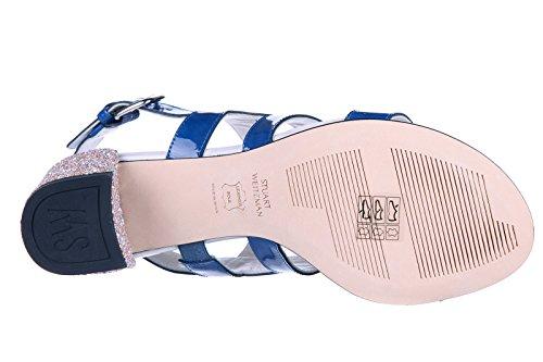 Stuart Weitzman Damen Leder Sandalen mit Absatz Sandaletten glitter blu