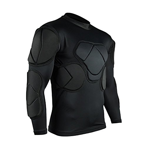 TOPWISE L&H Men's Padded Basketball Compression Shirt Soccer Basketball Training Vest (Long Sleeve Shirt, M) (Long Sleeve Padded Shirt Football)
