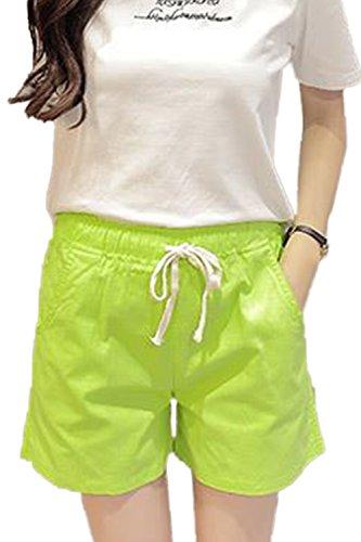 Di Moda Casual Taglia Di Estate Elastico Pantaloncini Le Donne Verde Regolabile XqpSaa
