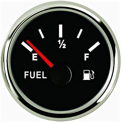 SAMDO Marine Fuel Level Gauge Universal Fuel Meter 52mm 0-190ohm Signal with Backlight 12V/24V Silver: Automotive