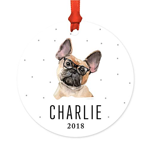 Andaz Press Personalized Preppy Dog Art Round Metal Christmas Ornament, French Bulldog in Black Glasses 2019, 1-Pack, Custom Birthday Present Ideas for Him Her Dog Lover, Includes Ribbon and Gift Bag