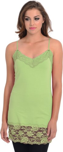 Lace Trim Long and Lean Cami Tank Top, S, Lime