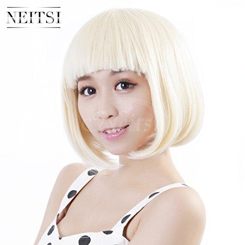 Neitsi 100% Kanekalon Fiber 14(35cm) 160g/pc Womens Girls Cosplay Short Synthetic BOB Hair Wigs Christmas Party (#60 Blonde)