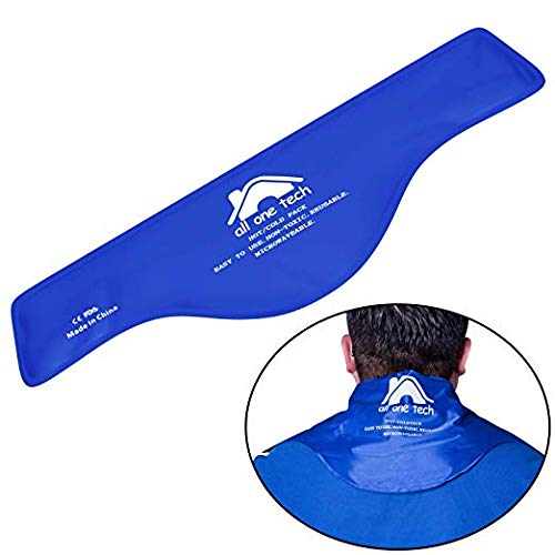 (Blue Neck Ice Pack - Cold Compress Shoulder Therapy Wrap Shoulder Ice Pack - Hot & Cold Therapy Pack Gel Ice Packs for Swelling, Injuries, Headache, Cooler(21